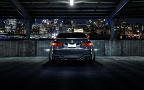 bmw-m3-f80-matte-black-car-rear-view-night-city-1080P-wallpaper